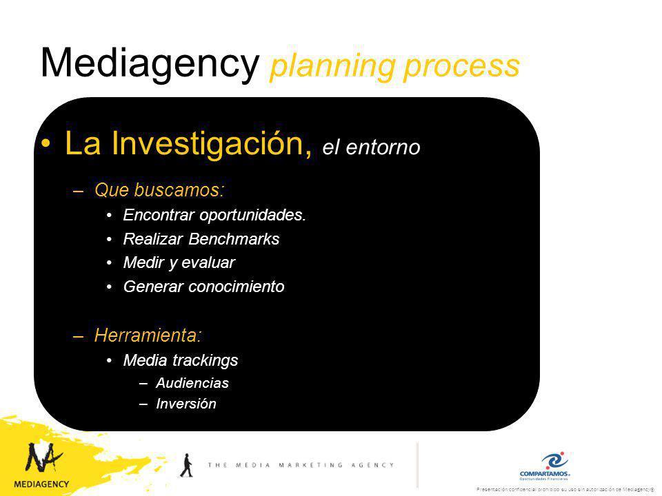 Presentación confidencial prohibido su uso sin autorización de Mediagency® Mediagency planning process El Consumidor, el objetivo