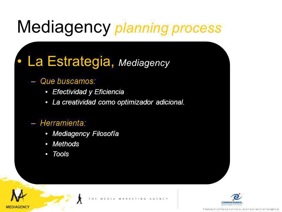 Presentación confidencial prohibido su uso sin autorización de Mediagency® Mediagency planning process Los Medios, puntos de contacto –No existen medios buenos o malos, solo medios adecuados a cada necesidad específica de mercado de cada marca.