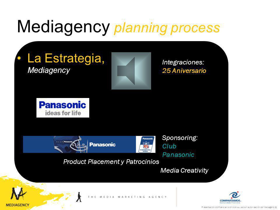 Presentación confidencial prohibido su uso sin autorización de Mediagency® Mediagency planning process La Estrategia, Mediagency Media Creativity