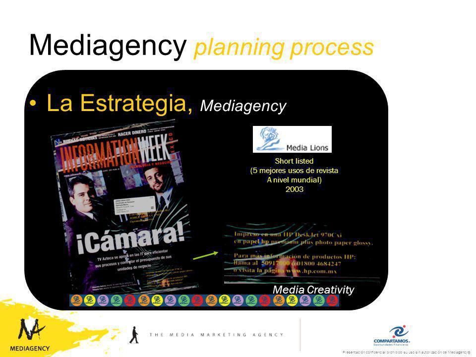 Presentación confidencial prohibido su uso sin autorización de Mediagency® Mediagency planning process La Estrategia, Mediagency Media Creativity Creative use of Traditional media