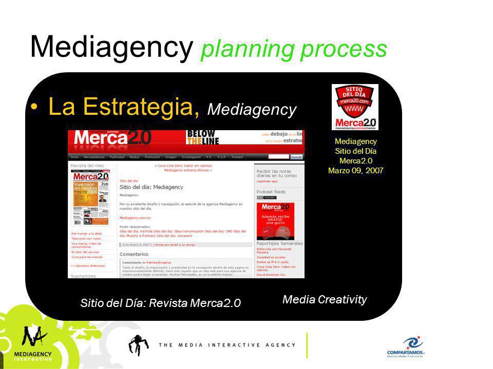 Presentación confidencial prohibido su uso sin autorización de Mediagency® Mediagency planning process La Estrategia, Mediagency Media Creativity Short listed (3 mejores usos de revista En México, categoría Medios) 2007