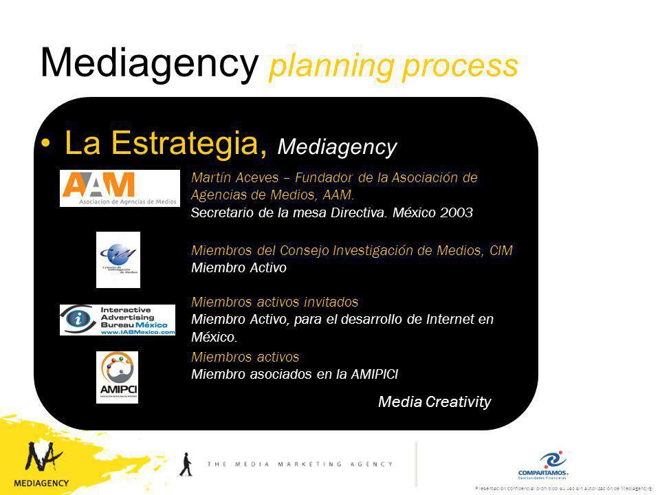 Presentación confidencial prohibido su uso sin autorización de Mediagency® Mediagency planning process La Estrategia, Mediagency Media Creativity Jurado 2003 Innovación en Medios FIAP – Festival Iberoamericano de Publicidad Buenos Aires, Argentina.