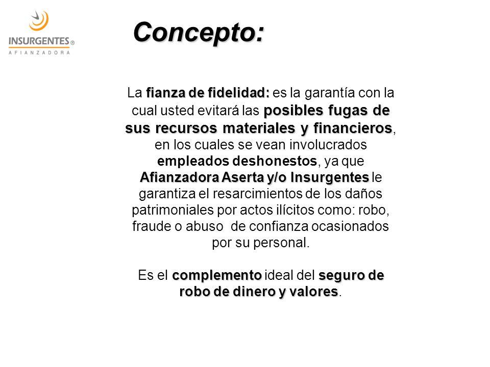 fianza de fidelidad: posibles fugas de sus recursos materiales y financieros Afianzadora Aserta y/o Insurgentes La fianza de fidelidad: es la garantía