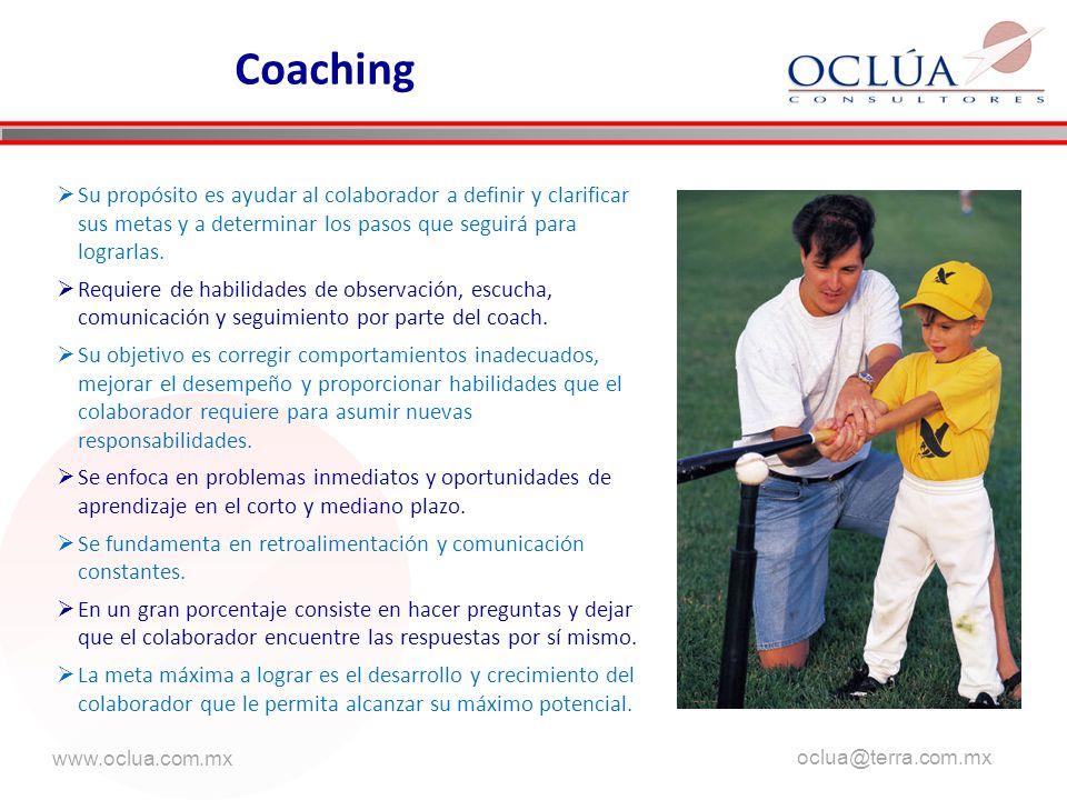 www.oclua.com.mx oclua@terra.com.mx aaa Coaching Su propósito es ayudar al colaborador a definir y clarificar sus metas y a determinar los pasos que seguirá para lograrlas.
