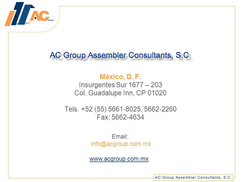 El contenido de la presente es propiedad intelectual de AC Group Assembler Consultants, S.C., por lo que están reservados todos los derechos, quedando prohibida cualquier tipo de reproducción y/o difusión total o parcial por cualquier medio con o sin fines de lucro.