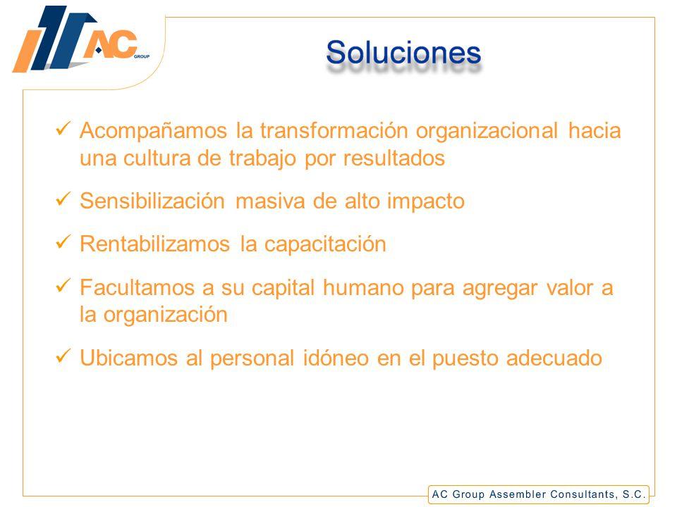 Acompañamos la transformación organizacional hacia una cultura de trabajo por resultados Sensibilización masiva de alto impacto Rentabilizamos la capacitación Facultamos a su capital humano para agregar valor a la organización Ubicamos al personal idóneo en el puesto adecuado