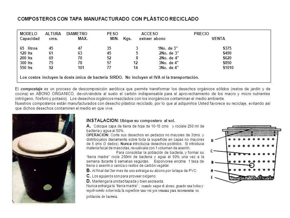 MODELO ALTURA DIAMETROPESO ACCESO PRECIO Capacidadcms.MAX. MIN. Kgs. extraer abono VENTA 65 litros4547 353 1No. de 3 $375 120 lts6163455 2No. de 3$490
