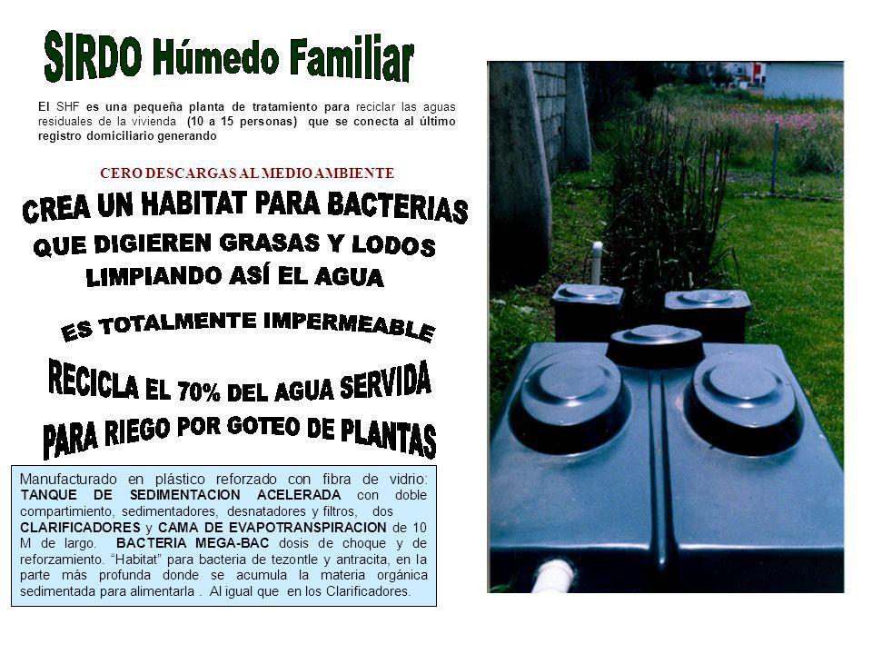 El SHF es una pequeña planta de tratamiento para reciclar las aguas residuales de la vivienda (10 a 15 personas) que se conecta al último registro dom