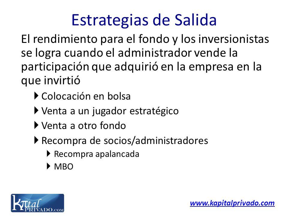 www.kapitalprivado.com El rendimiento para el fondo y los inversionistas se logra cuando el administrador vende la participación que adquirió en la em