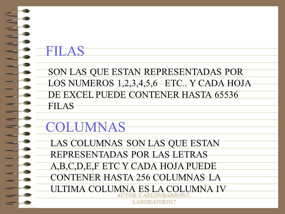 AUTOR: CARLOS BARRON C. LABORATORIO 7 FILAS SON LAS QUE ESTAN REPRESENTADAS POR LOS NUMEROS 1,2,3,4,5,6 ETC.. Y CADA HOJA DE EXCEL PUEDE CONTENER HAST