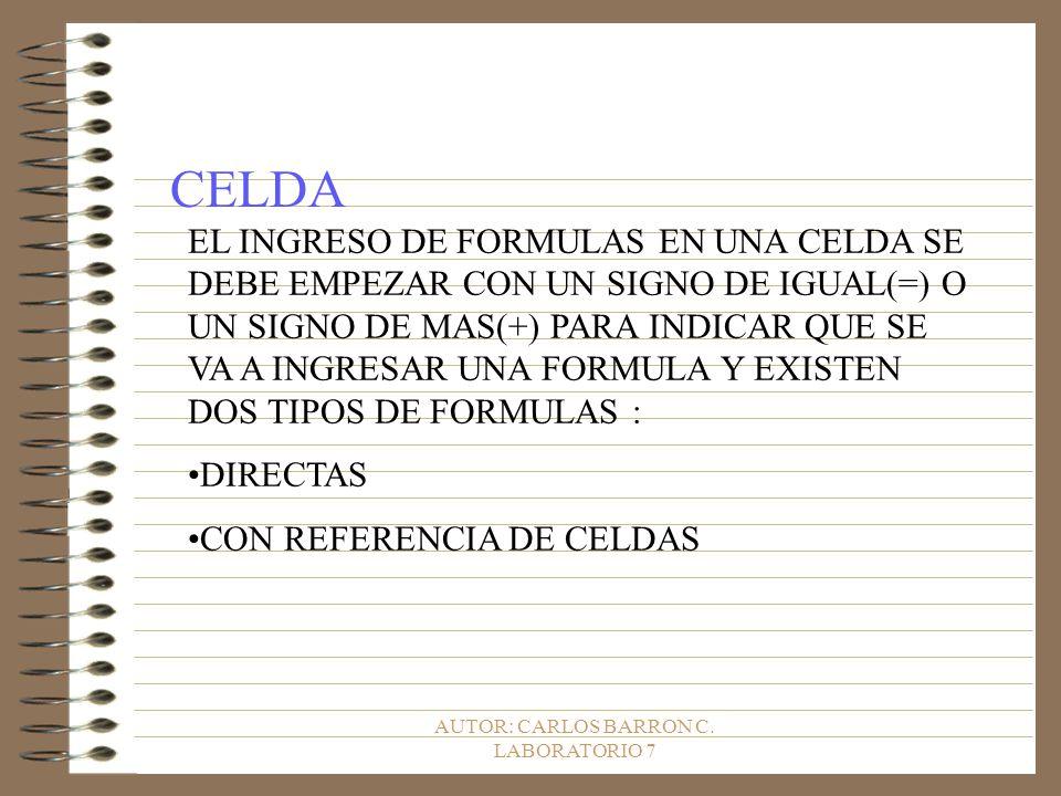 AUTOR: CARLOS BARRON C. LABORATORIO 7 CELDA EL INGRESO DE FORMULAS EN UNA CELDA SE DEBE EMPEZAR CON UN SIGNO DE IGUAL(=) O UN SIGNO DE MAS(+) PARA IND