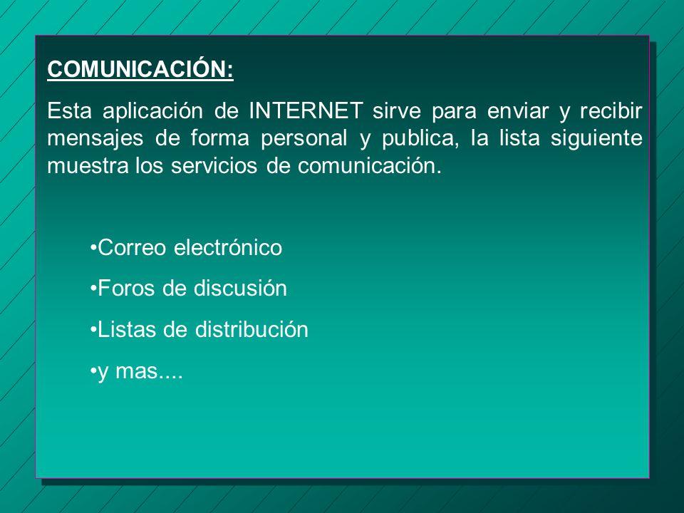 ¿Que hay en INTERNET? En INTERNET podremos encontrar un sin número de información, toda esa información esta dividida en tres grupos, que son: Comunic