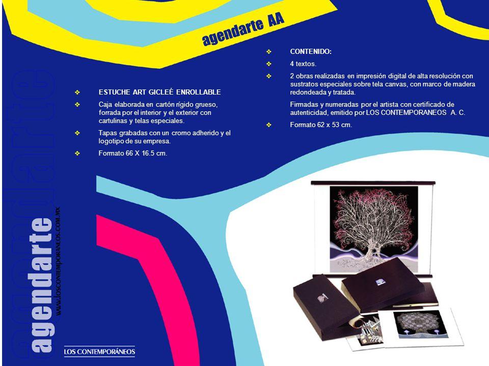 ESTUCHE PARA AGENDA Y OBRA GRÁFICA Caja elaborada en cartón rígido grueso, forrada por el interior y el exterior con cartulinas y telas especiales.