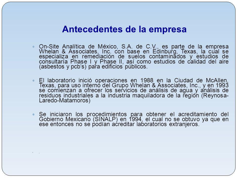 Antecedentes de la empresa On-Site Analítica de México, S.A. de C.V., es parte de la empresa Whelan & Associates, Inc. con base en Edinburg, Texas, la
