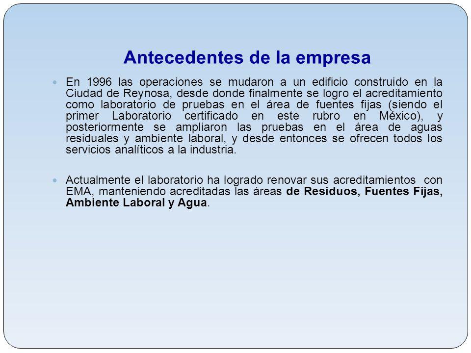 Antecedentes de la empresa En 1996 las operaciones se mudaron a un edificio construido en la Ciudad de Reynosa, desde donde finalmente se logro el acr