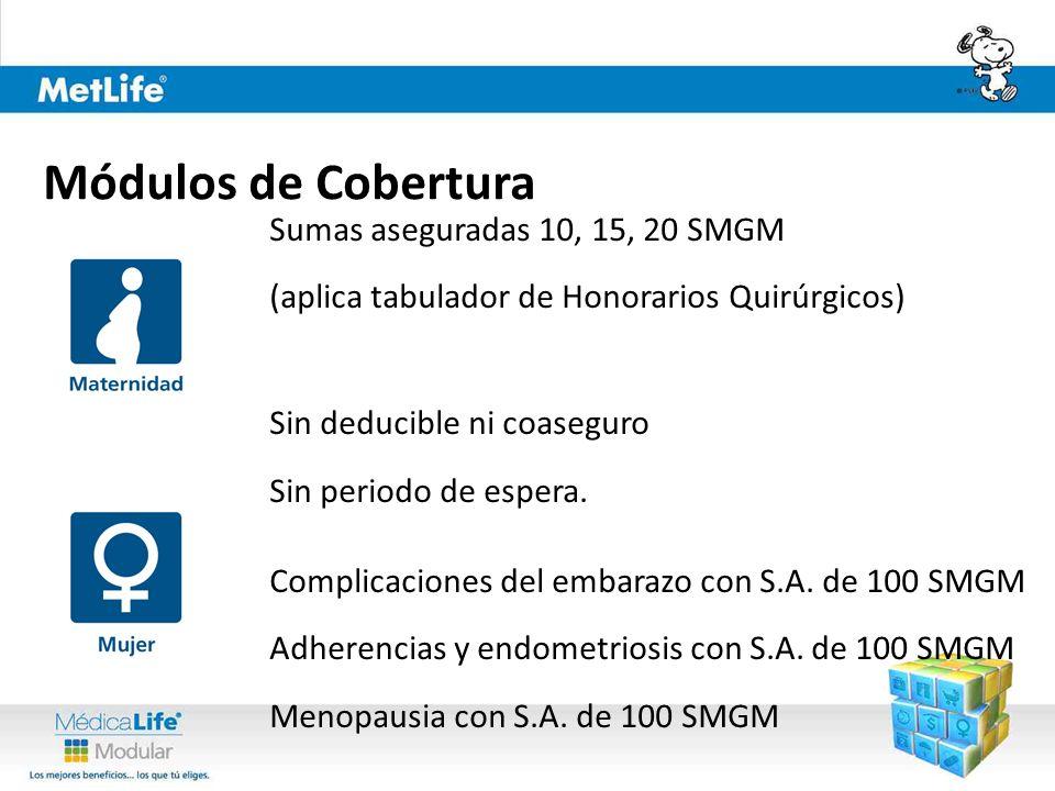 Sumas aseguradas 10, 15, 20 SMGM (aplica tabulador de Honorarios Quirúrgicos) Sin deducible ni coaseguro Sin periodo de espera.