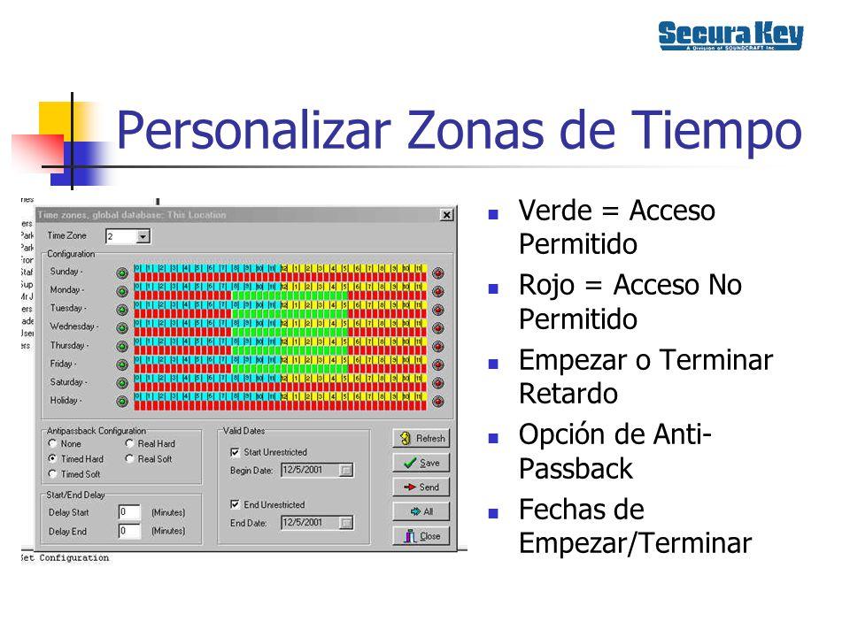 Zonas de Puertas Horario de Trabar/Destrabar Se programa por una sola puerta o Globalmente Automático o Activado por Tarjeta
