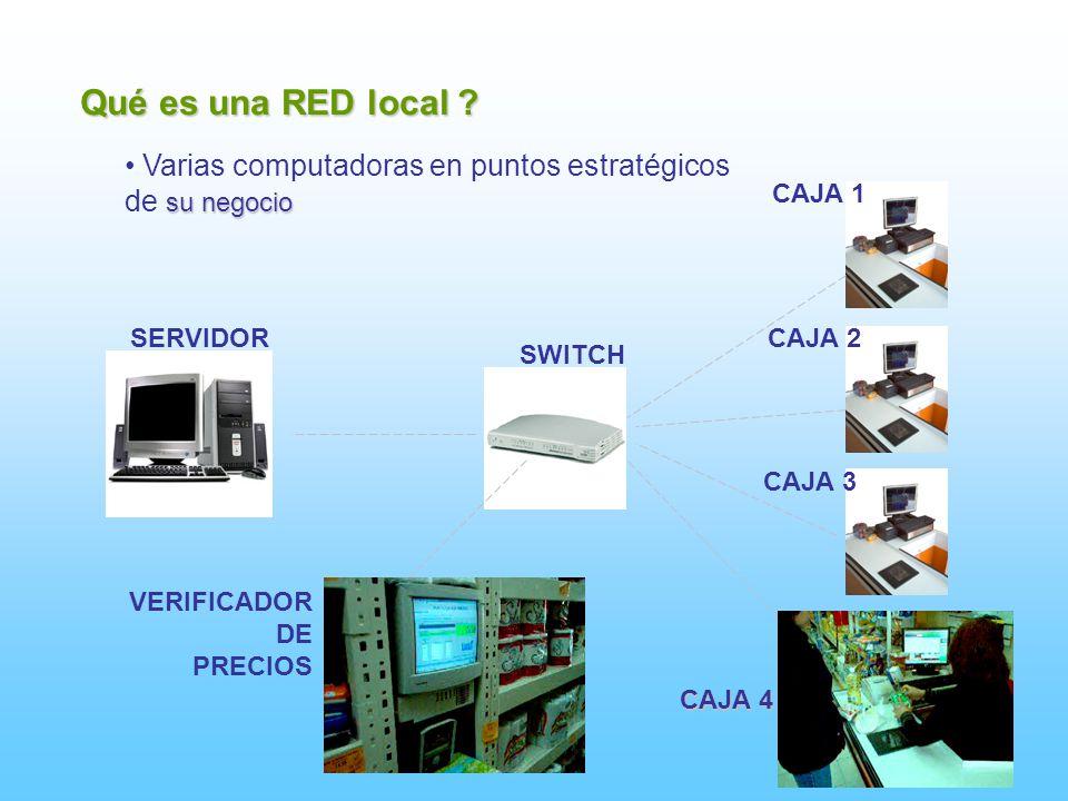 Qué es una RED local ? Varias computadoras en puntos estratégicos su negocio de su negocio SWITCH CAJA 1 CAJA 2 CAJA 3 SERVIDOR VERIFICADOR DE PRECIOS