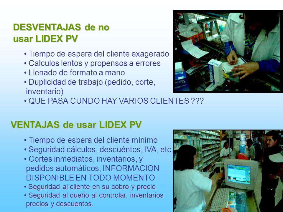 DESVENTAJAS de no usar LIDEX PV Tiempo de espera del cliente exagerado Calculos lentos y propensos a errores Llenado de formato a mano Duplicidad de t