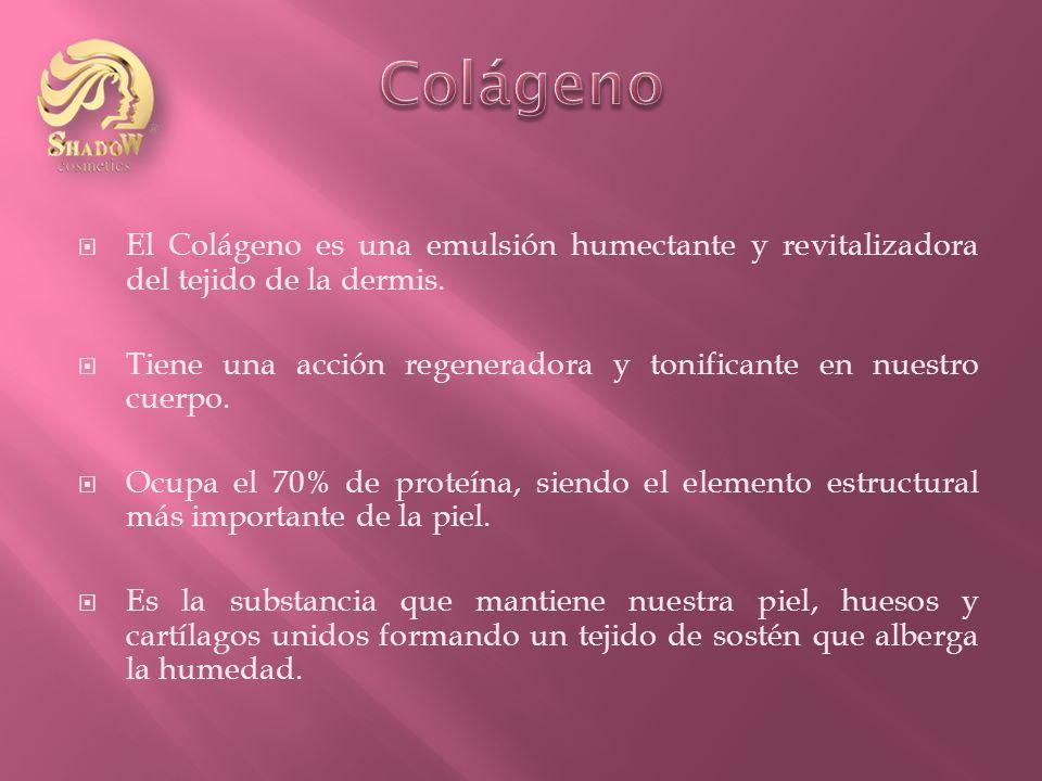 El Colágeno es una emulsión humectante y revitalizadora del tejido de la dermis.