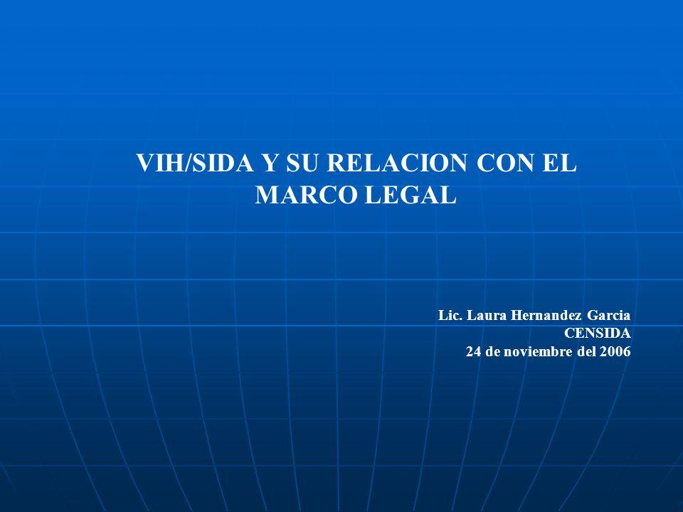 VIH/SIDA Y SU RELACION CON EL MARCO LEGAL Lic. Laura Hernandez Garcia CENSIDA 24 de noviembre del 2006