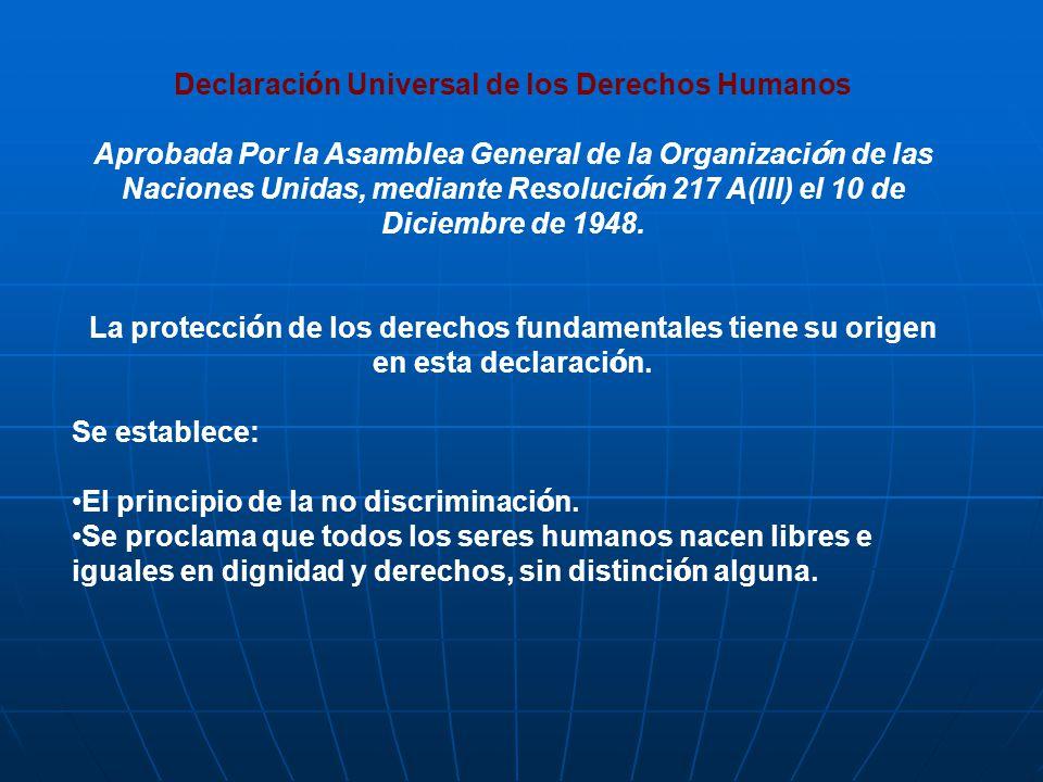Declaraci ó n Universal de los Derechos Humanos Aprobada Por la Asamblea General de la Organizaci ó n de las Naciones Unidas, mediante Resoluci ó n 21