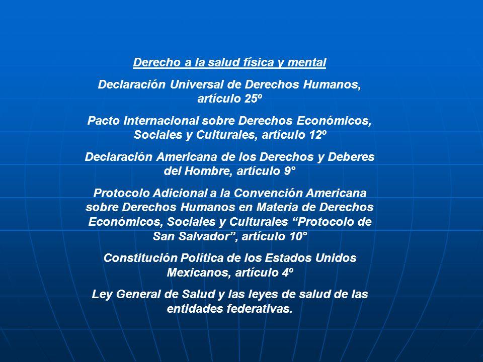 Derecho a la salud física y mental Declaración Universal de Derechos Humanos, artículo 25º Pacto Internacional sobre Derechos Económicos, Sociales y C