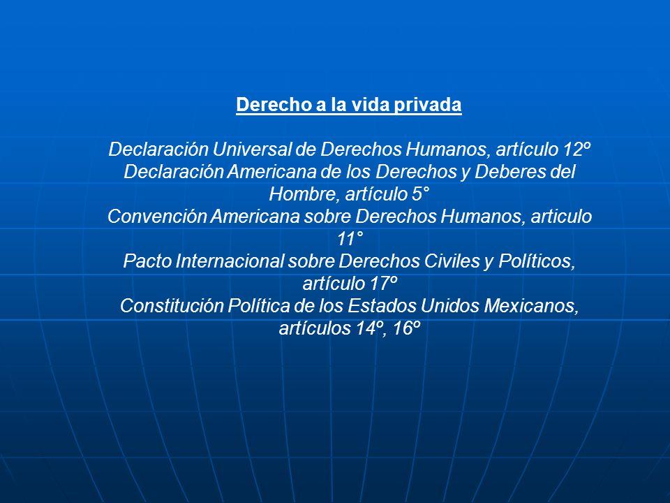 Derecho a la vida privada Declaración Universal de Derechos Humanos, artículo 12º Declaración Americana de los Derechos y Deberes del Hombre, artículo