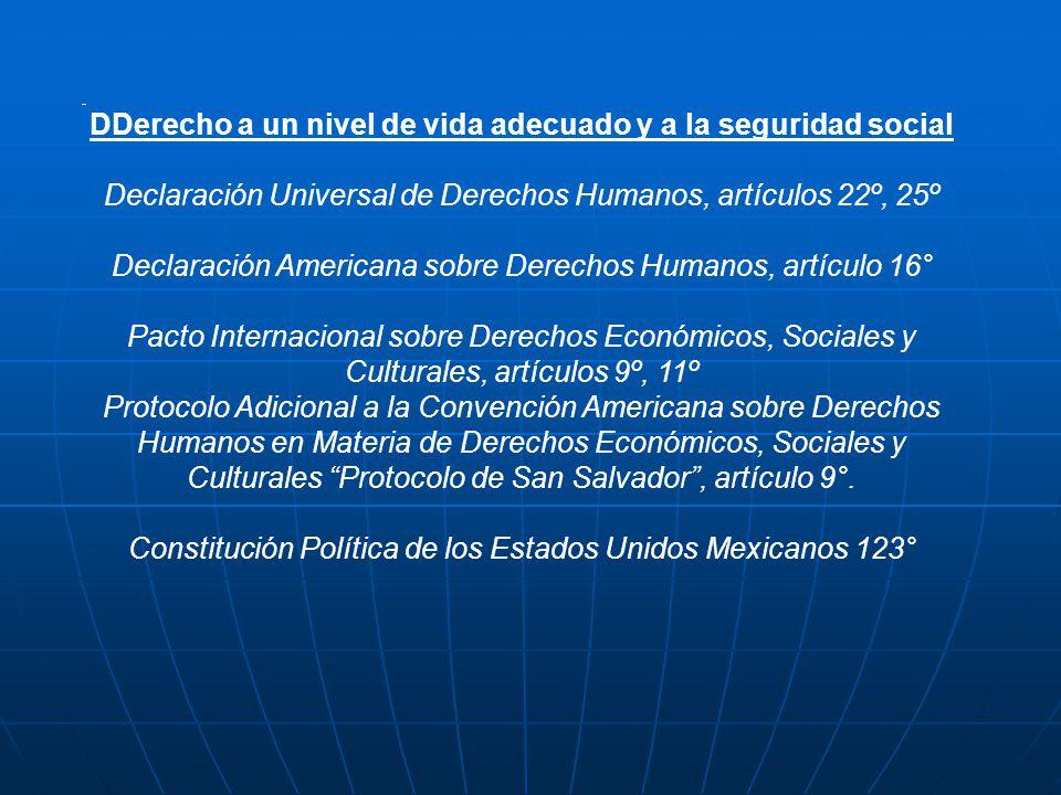 DDerecho a un nivel de vida adecuado y a la seguridad social Declaración Universal de Derechos Humanos, artículos 22º, 25º Declaración Americana sobre