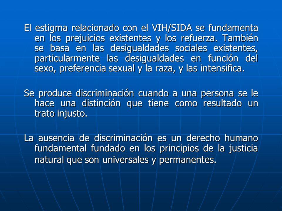 El estigma relacionado con el VIH/SIDA se fundamenta en los prejuicios existentes y los refuerza. También se basa en las desigualdades sociales existe