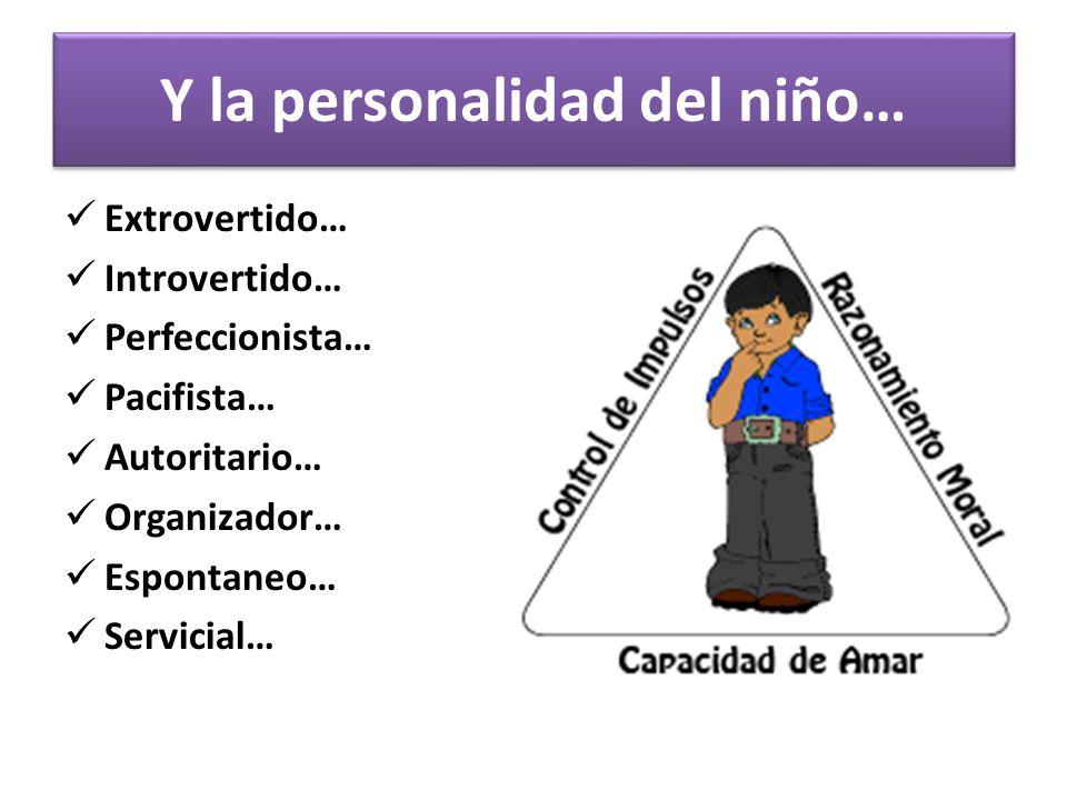 Y la personalidad del niño… Extrovertido… Introvertido… Perfeccionista… Pacifista… Autoritario… Organizador… Espontaneo… Servicial…