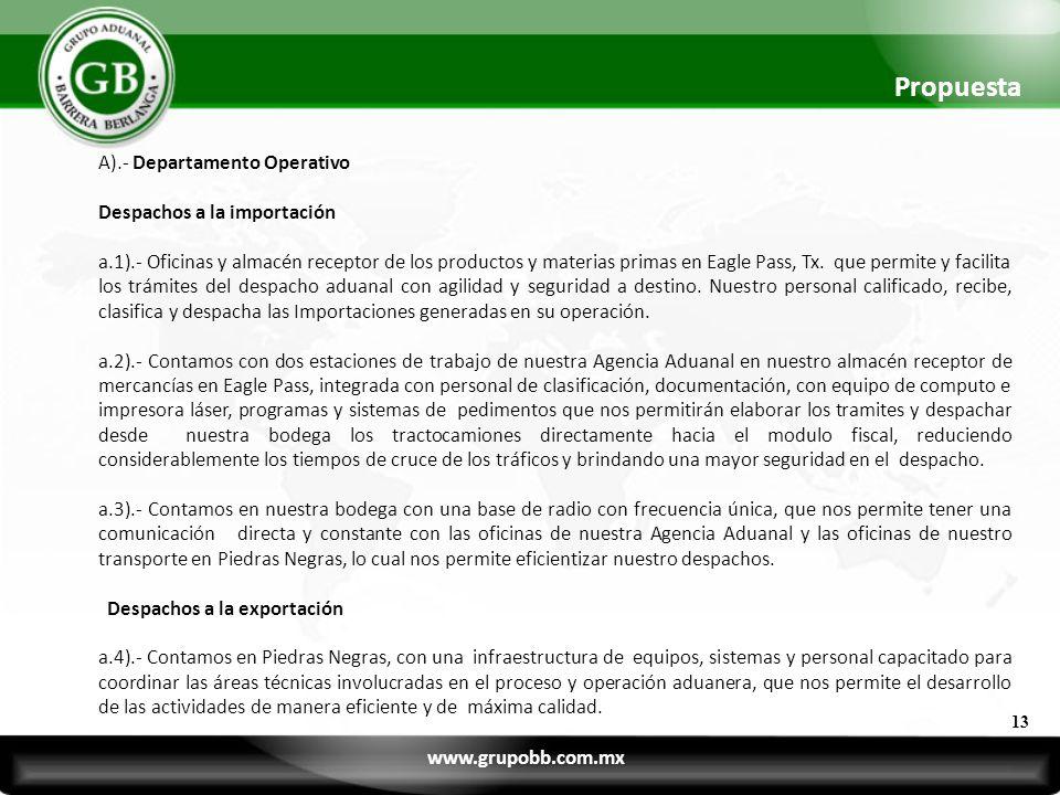 Propuesta A).- Departamento Operativo Despachos a la importación a.1).- Oficinas y almacén receptor de los productos y materias primas en Eagle Pass,