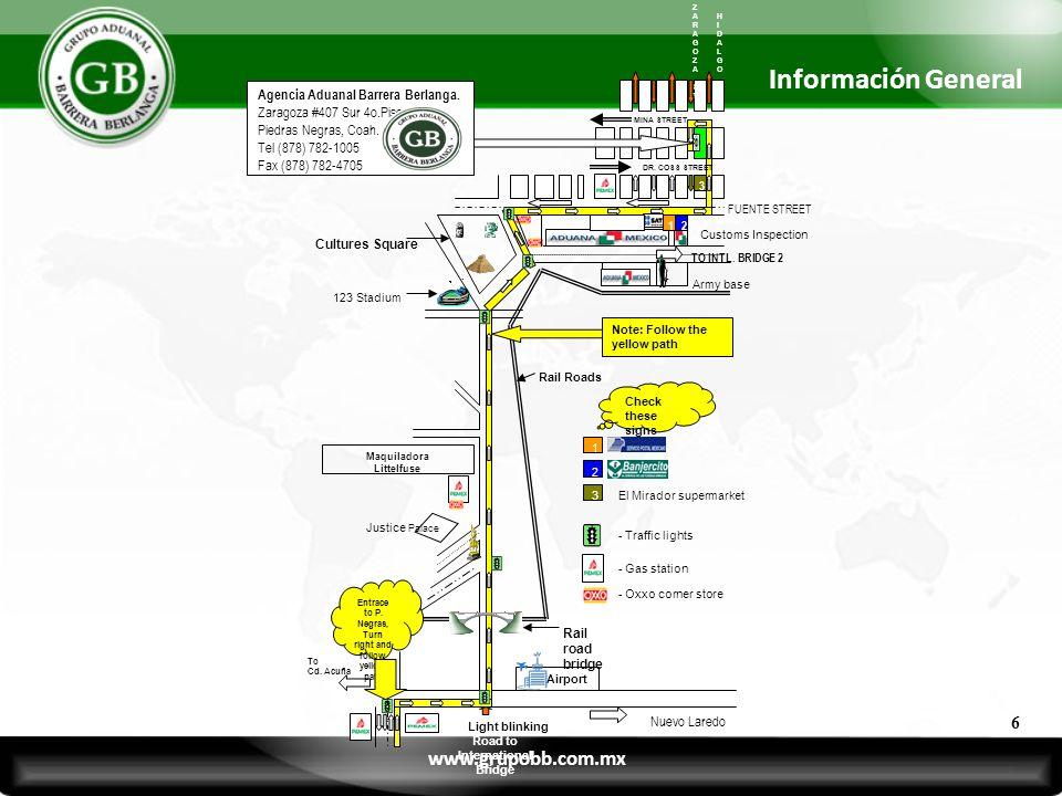 ZARAGOZASTZARAGOZAST 3 MINA STREET DR. COSS STREET Customs Inspection 12 Justice Palace Maquiladora Littelfuse To Cd. Acuña Light blinking Road to Int