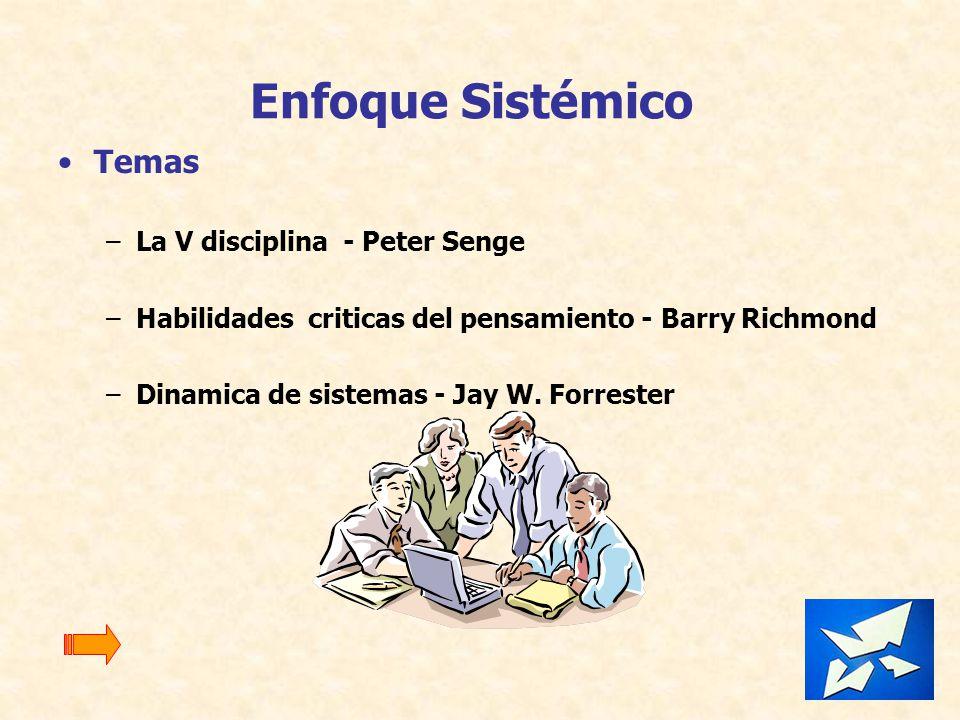 Enfoque Sistémico Temas –La V disciplina - Peter Senge –Habilidades criticas del pensamiento - Barry Richmond –Dinamica de sistemas - Jay W. Forrester