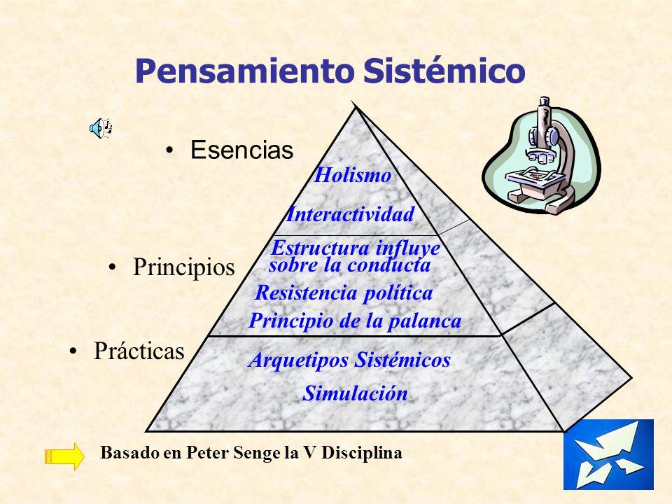 Pensamiento Sistémico Esencias Principios Prácticas Holismo Interactividad Estructura influye sobre la conducta Resistencia política Principio de la p