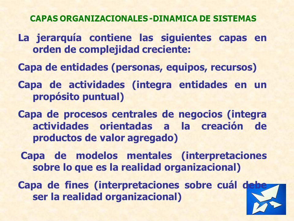 CAPAS ORGANIZACIONALES -DINAMICA DE SISTEMAS La jerarquía contiene las siguientes capas en orden de complejidad creciente: Capa de entidades (personas