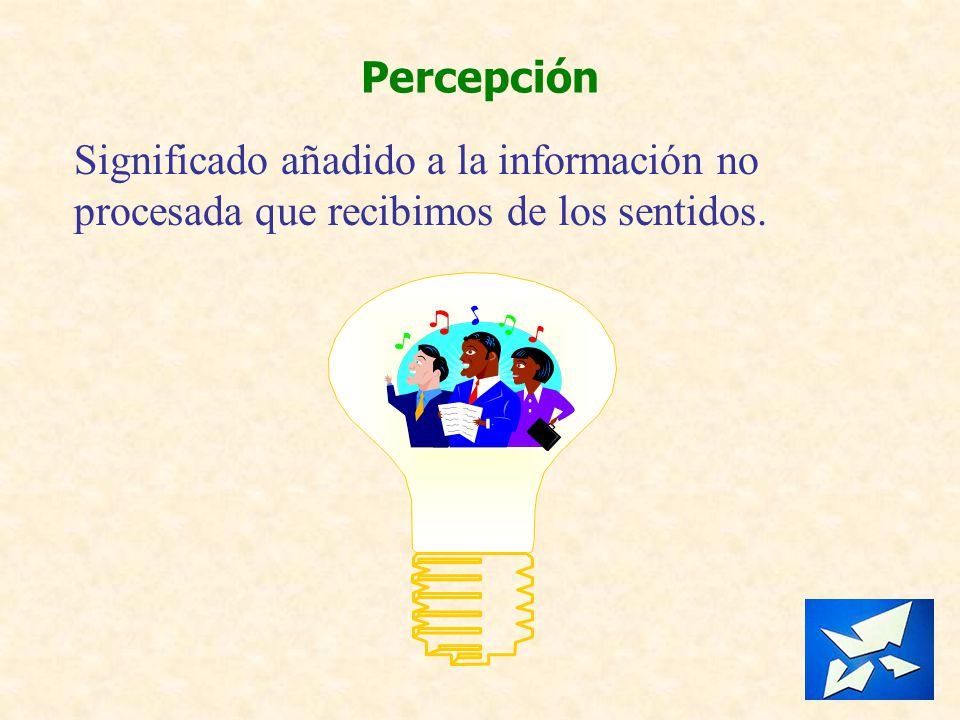 Percepción Significado añadido a la información no procesada que recibimos de los sentidos.