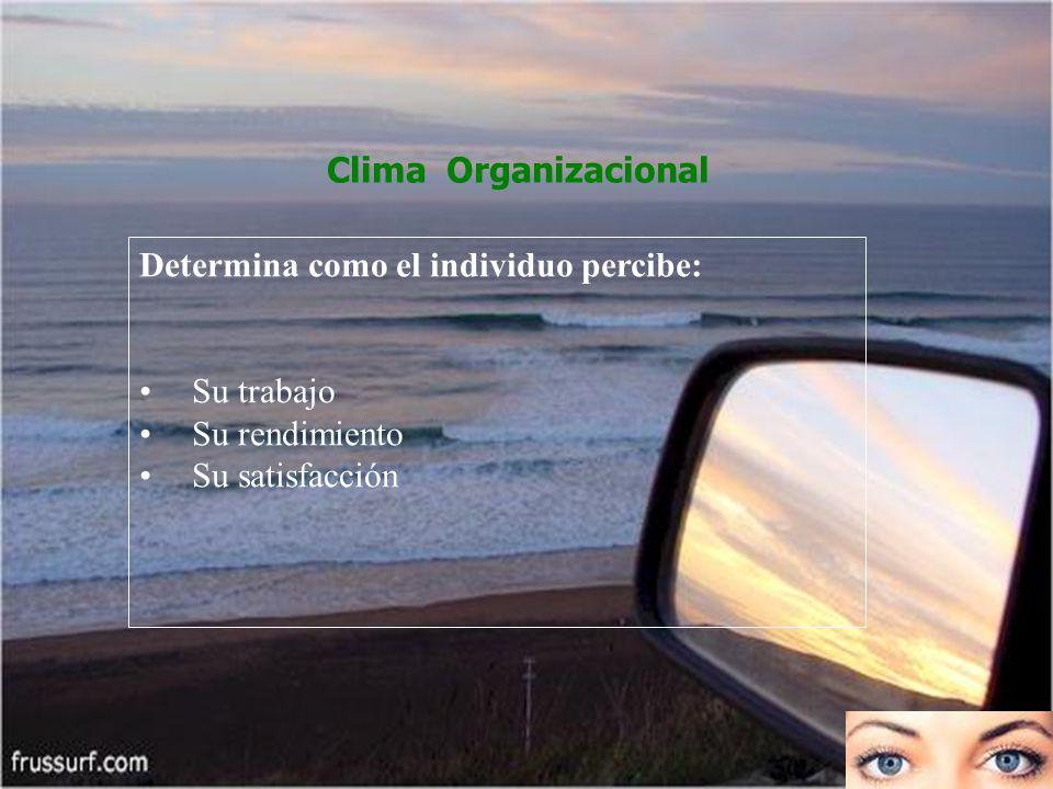 Clima Organizacional Determina como el individuo percibe: Su trabajo Su rendimiento Su satisfacción