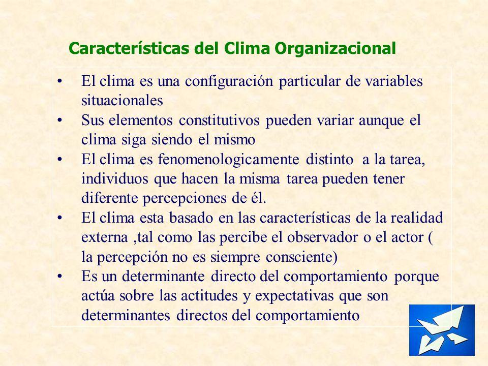 Características del Clima Organizacional El clima es una configuración particular de variables situacionales Sus elementos constitutivos pueden variar