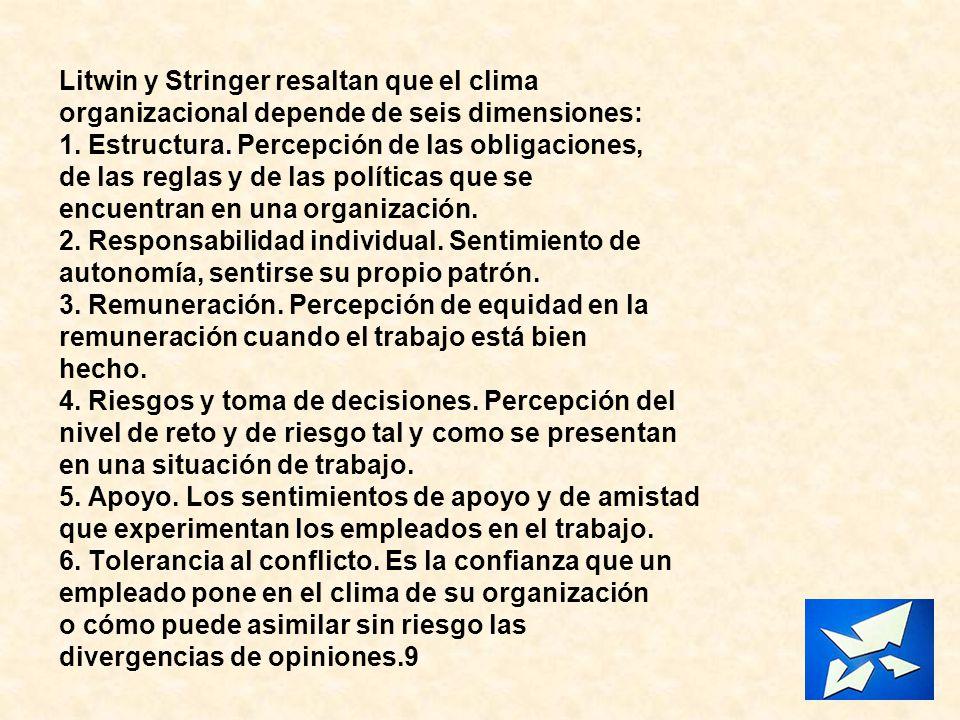 Litwin y Stringer resaltan que el clima organizacional depende de seis dimensiones: 1. Estructura. Percepción de las obligaciones, de las reglas y de