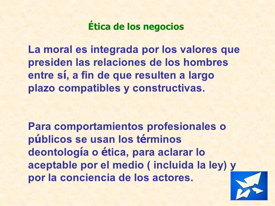 Ética de los negocios La moral es integrada por los valores que presiden las relaciones de los hombres entre s í, a fin de que resulten a largo plazo