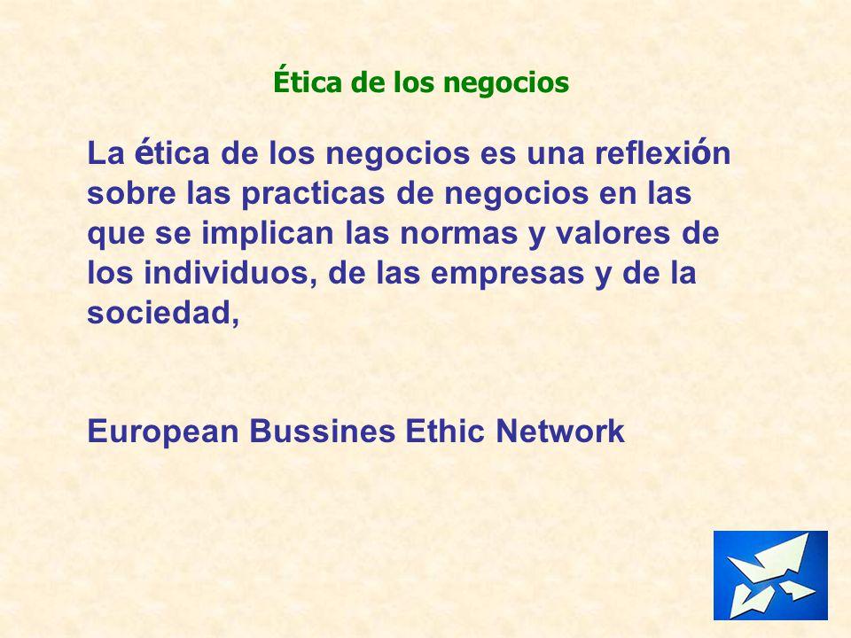 Ética de los negocios La é tica de los negocios es una reflexi ó n sobre las practicas de negocios en las que se implican las normas y valores de los
