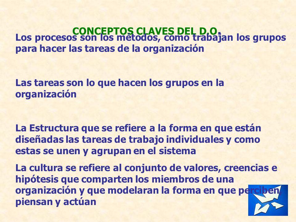 CONCEPTOS CLAVES DEL D.O. Los procesos son los métodos, como trabajan los grupos para hacer las tareas de la organización Las tareas son lo que hacen
