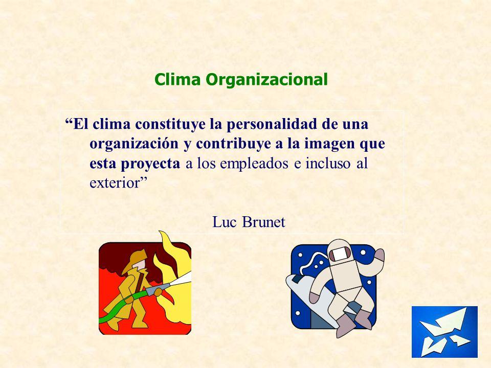 Clima Organizacional El clima constituye la personalidad de una organización y contribuye a la imagen que esta proyecta a los empleados e incluso al e