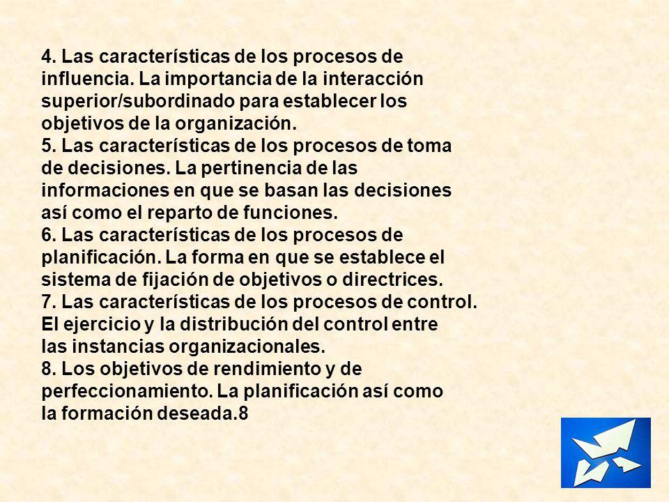 4. Las características de los procesos de influencia. La importancia de la interacción superior/subordinado para establecer los objetivos de la organi