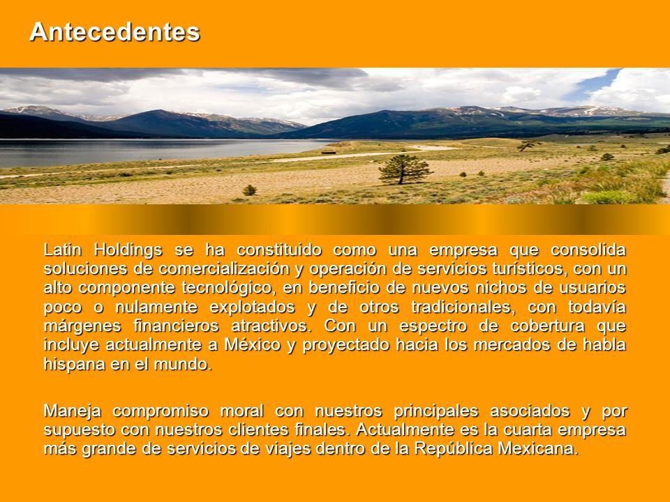Antecedentes Latin Holdings se ha constituido como una empresa que consolida soluciones de comercialización y operación de servicios turísticos, con u