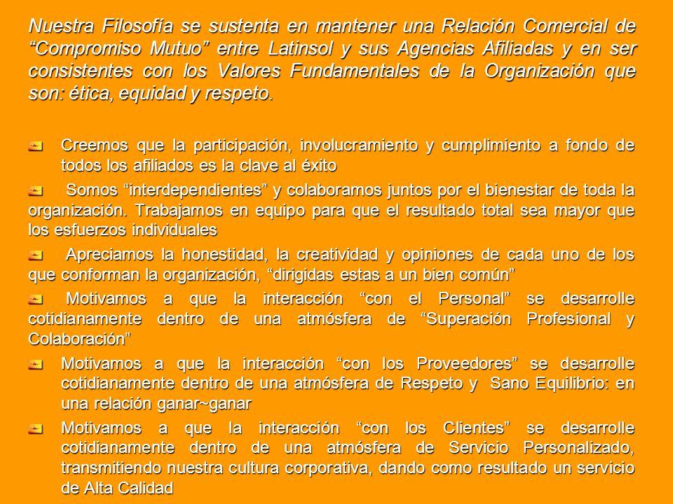 Nuestra Filosofía se sustenta en mantener una Relación Comercial de Compromiso Mutuo entre Latinsol y sus Agencias Afiliadas y en ser consistentes con
