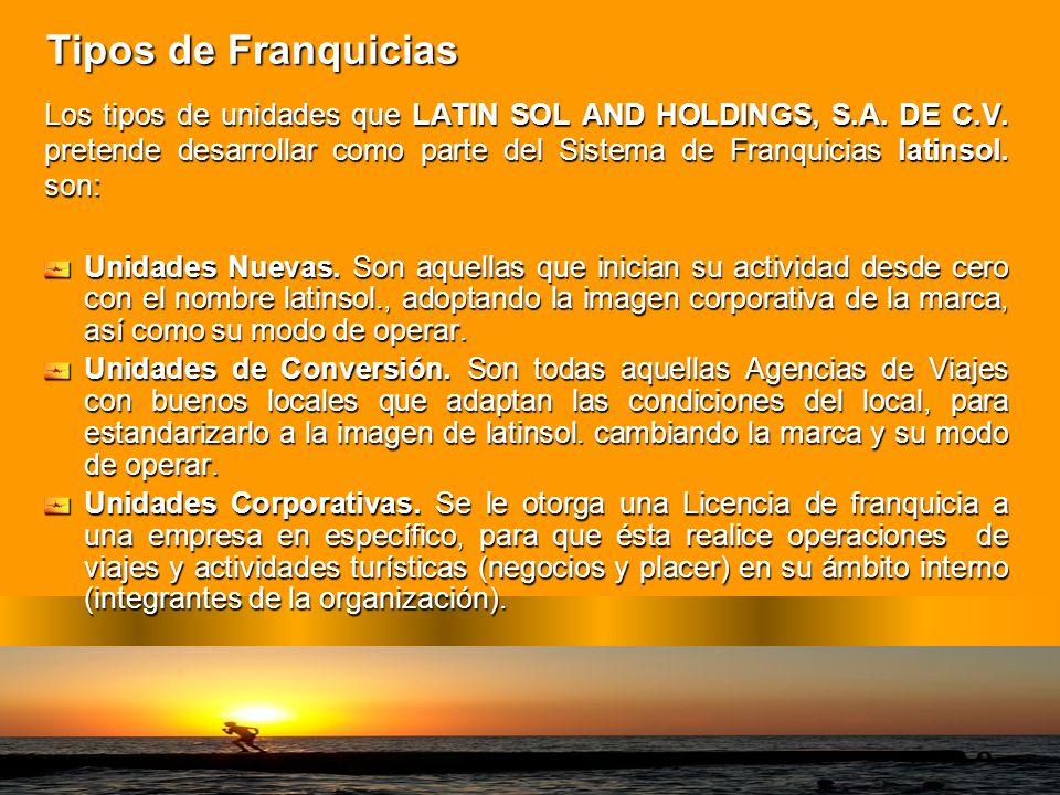 Tipos de Franquicias Los tipos de unidades que LATIN SOL AND HOLDINGS, S.A. DE C.V. pretende desarrollar como parte del Sistema de Franquicias latinso