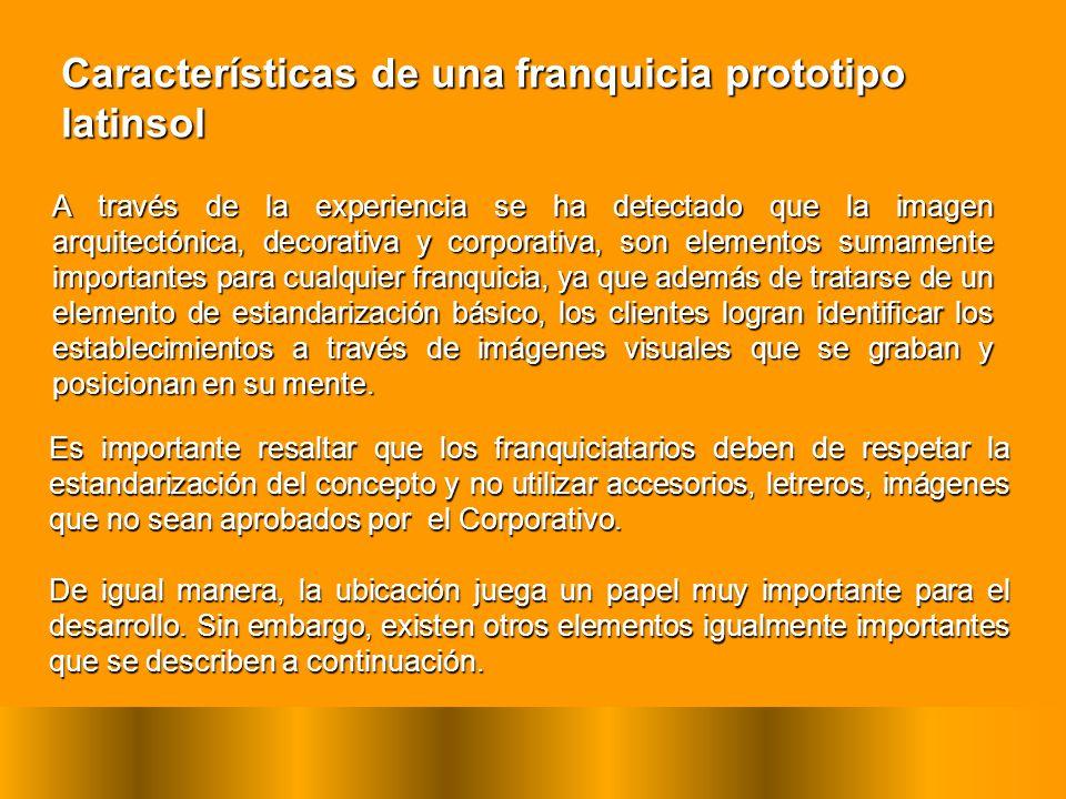 Características de una franquicia prototipo latinsol A través de la experiencia se ha detectado que la imagen arquitectónica, decorativa y corporativa