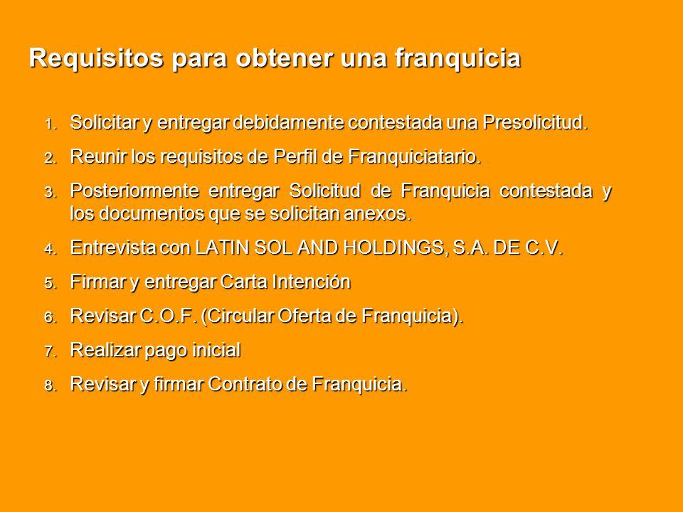 Requisitos para obtener una franquicia 1. Solicitar y entregar debidamente contestada una Presolicitud. 2. Reunir los requisitos de Perfil de Franquic